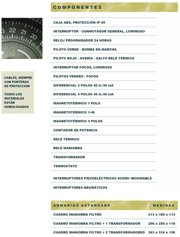 Componentes Novatec Piscinas